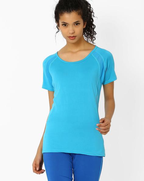T-shirt With Mesh Panels By AJIO ( Aqua )