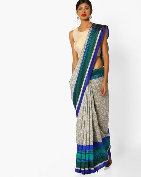 Floral Print Saree With Contrast Border By Runalaila ( Blue )