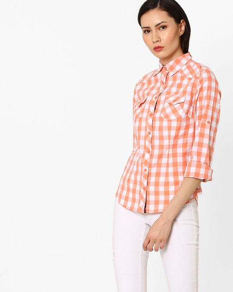 Checked Shirt With Patch Pockets By DNM X ( Red )