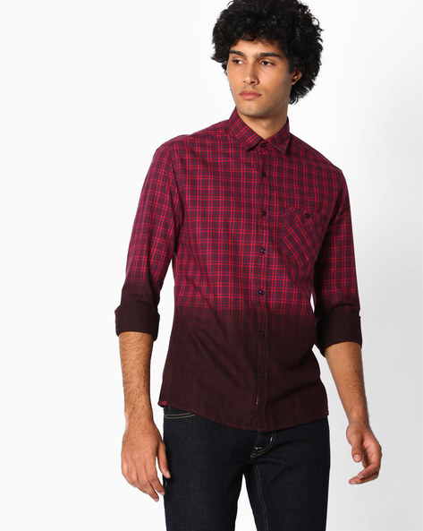 Checked Shirt With Ombre Dyed Effect By Killer ( Red )
