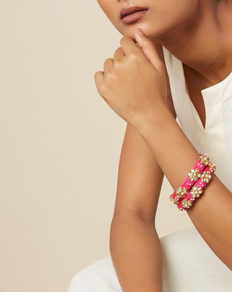 Pure Silk Hand-Embroidered Zardosi Bangle Set By PADMAHASTHA ( Pink ) - 460152445001