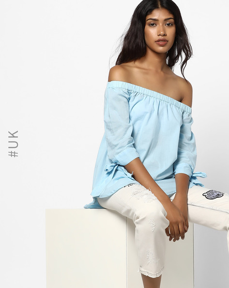 Off-Shoulder Top With High-Low Hem By INFLUENCE ( Blue )