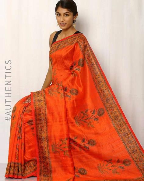 Hand Block Print Pure Silk Saree By Indie Picks ( Orange )
