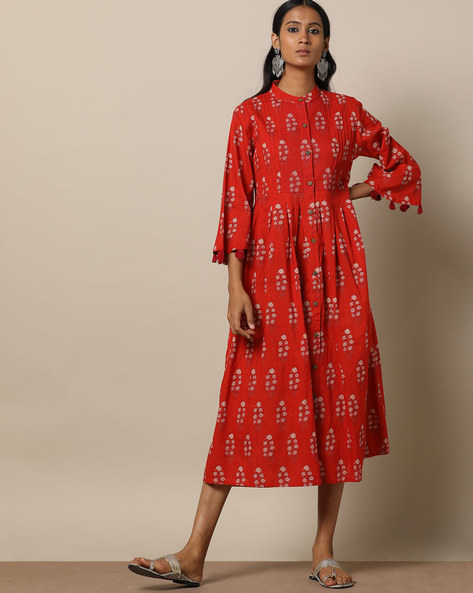 Printed Cotton Pleated Long Dress With Pintucks By Seasons ( Red )