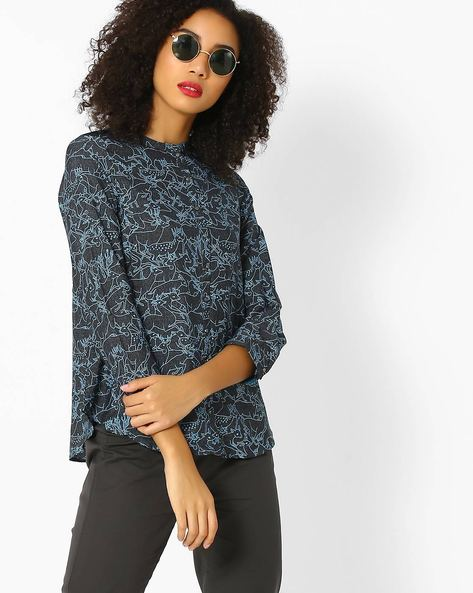 Printed Top With Mandarin Collar By W ( Black )