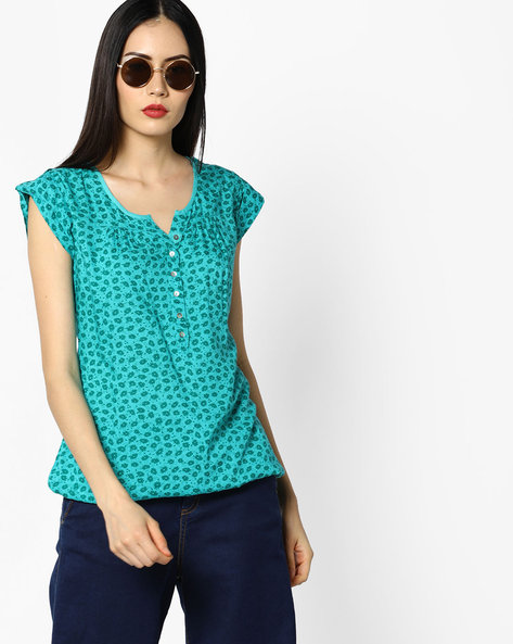 Printed Top With Button Placket By WRANGLER ( Green )