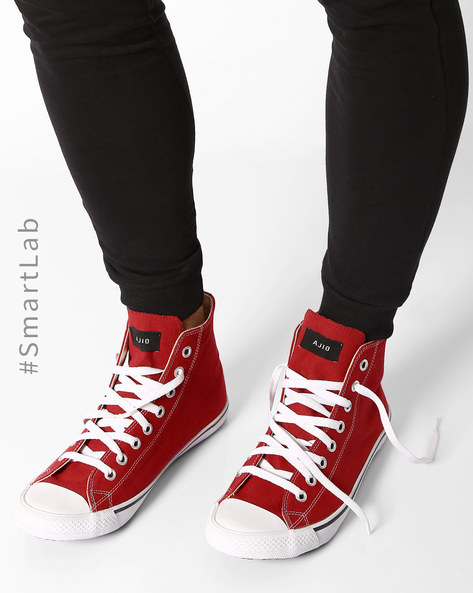 N9-Treated Canvas High-Top Sneakers By AJIO ( Red )