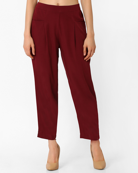 Relaxed Fit Ankle-Length Trousers By Oxolloxo ( Red )