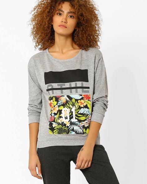 Graphic Print Sweatshirt By Ajile By Pantaloons ( Greymelange )