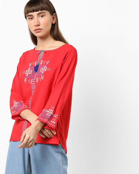 Geometric Print Top With Tie-Up By Global Desi ( Red )