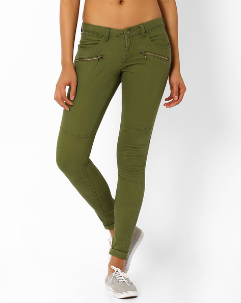 Skinny Fit Trousers With Zip Detail By DNM X ( Olive )