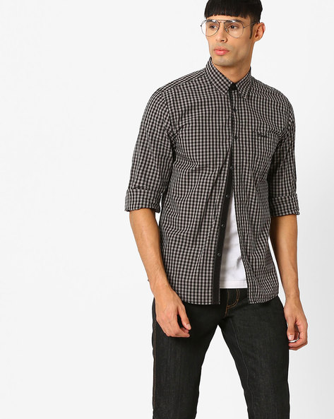 Checked Shirt With Curved Hem By WRANGLER ( Black )