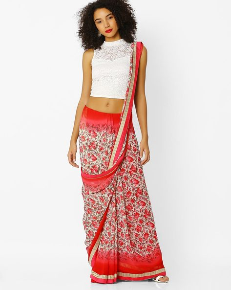 Floral Print Saree By Florence ( Red )