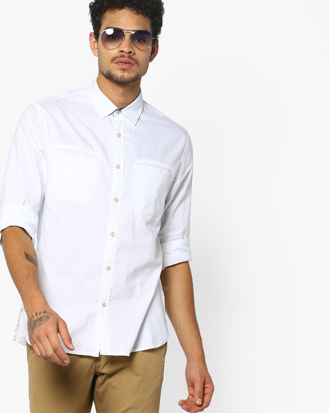 Slim Fit Shirt With Welt Pockets By AJIO ( White )