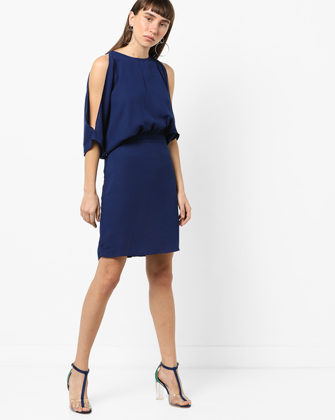 Popover Dress With Slit Sleeves By AJIO ( Blue )