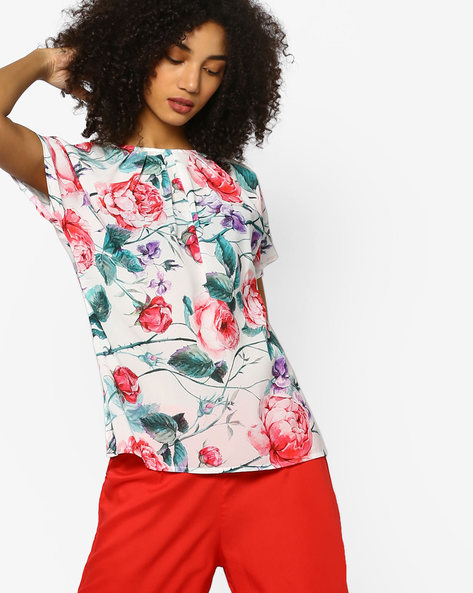 Floral Print Panelled Top By Project Eve WW Evening ( White )