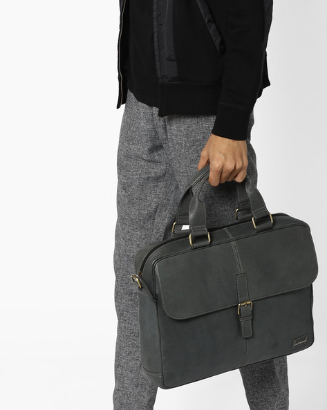 Genuine Leather Laptop Bag By JUSTANNED ( Grey )