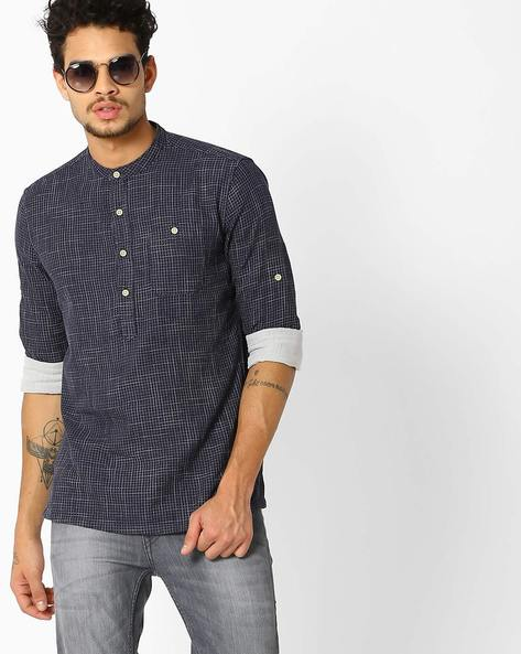 Checked Shirt With Mandarin Collar By LEVIS ( Blue )