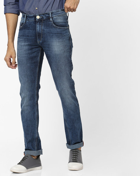 Mid-Wash Slim Fit Jeans By JOHN PLAYERS ( Blue )
