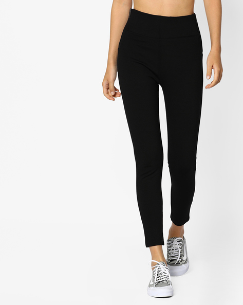 High-Rise Leggings With Zipper By CODE By Lifestyle ( Black )