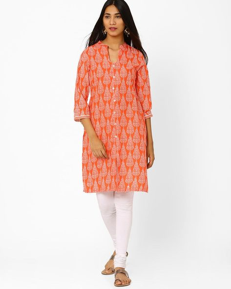 Printed Kurta With Front Slit By Biba ( Peach )