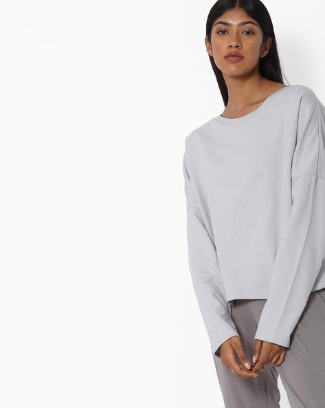 Panelled Crew-Neck Sweatshirt By Blue Saint ( Grey )