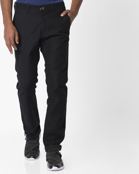 Tapered Fit Textured Chinos By NETPLAY ( Black )