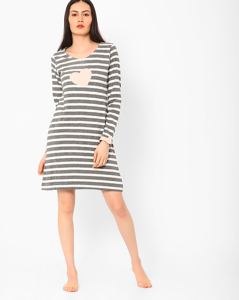 Striped Night Dress By Slumber Jill ( Multi )