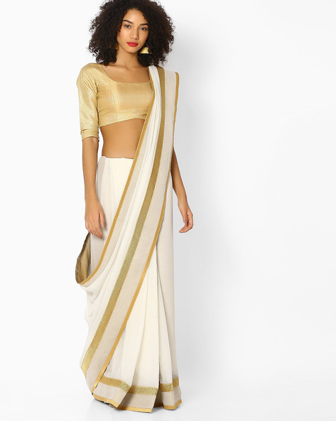 Saree With Contrast Border By Vastrangi ( White )