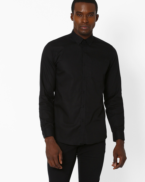 Slim Fit Shirt With Button-Down Collar By Black Coffee ( Black )