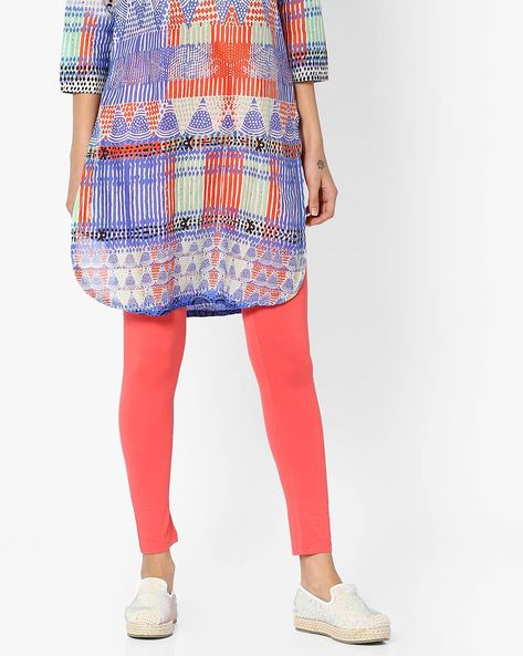 Leggings With Elasticated Waistband By Global Desi ( Coral )