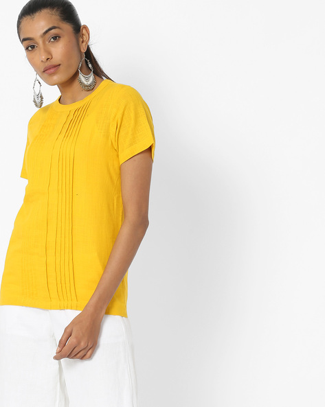 Cotton Tunic With Pintucks By Desi Fusion ( Yellow )