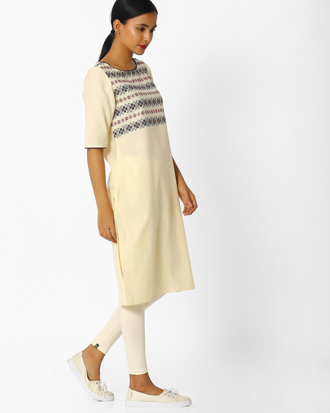 Straight Kurta With Patterned Weave By Melange By Lifestyle ( Offwhite )