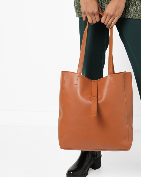 Tote Bag With Flap Closure By 20Dresses ( Brown )