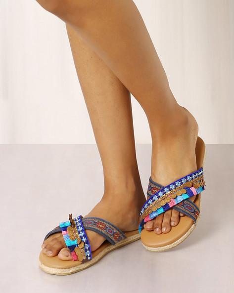 Open-Toe Beaded Chappals By Indie Picks ( Brown ) - 460017694003