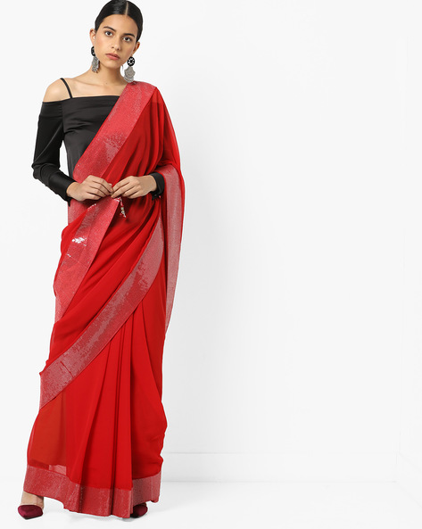 Chiffon Saree With Sequinned Border By Florence ( Red )