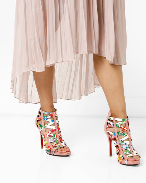 Floral Print Strappy Stilettos By MFT Couture ( Pink )