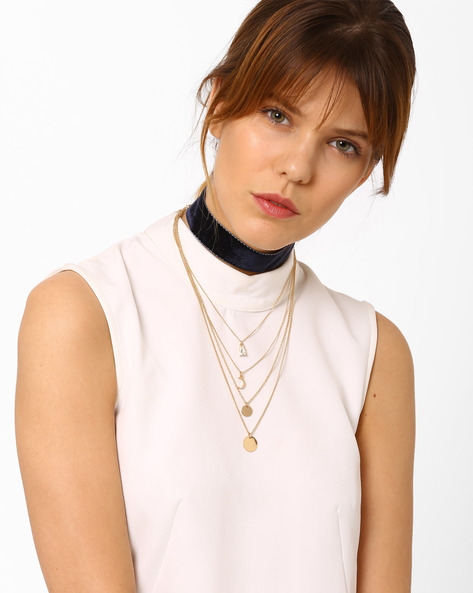 Multistrand Necklace With Bead Embellishments By Pipa Bella ( Gold )