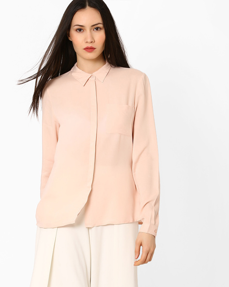Shirt With Patch Pocket By Vero Moda ( Peach )