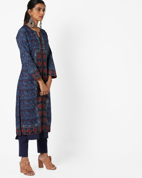 Printed Kurta With Front-Slit Hem By Biba ( Turquoise )