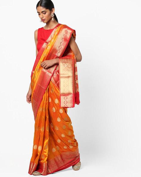 Banarasi Art Silk Saree With Zari Border By Viva N Diva ( Mustard )