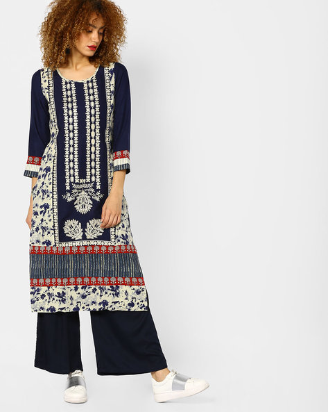Printed Straight Kurta With Embroidery By SOCH ( Navyblue )