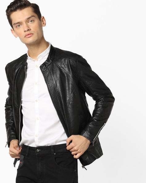 Slim Fit Biker Jacket By The Indian Garage Co ( Black )