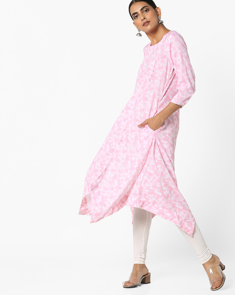 Printed Kurta With Dipped Hem By Project Eve IW Casual ( Pink )