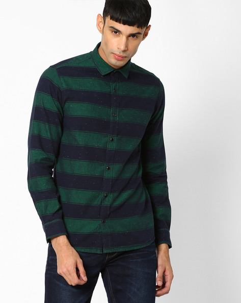 Striped Slim Fit Casual Shirt By Pepe Jeans ( Green )