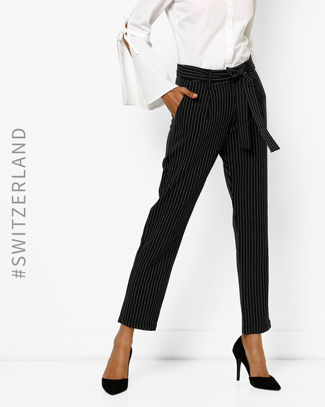 Striped Trousers With Front Tie-Up By TALLY WEiJL ( Black )