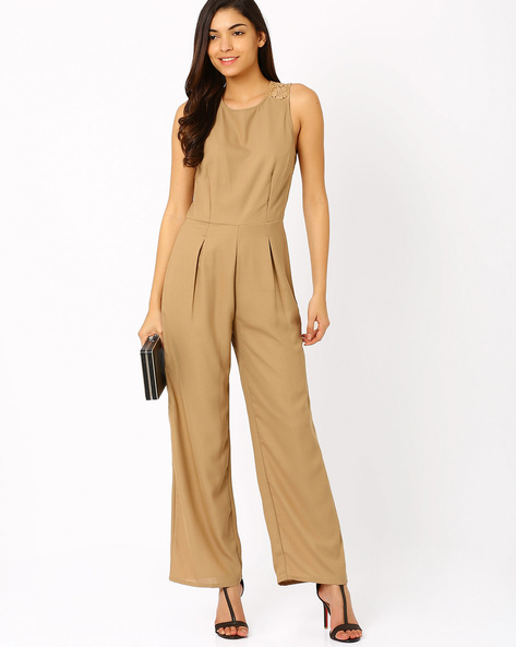 Sleeveless Lace Jumpsuit By The Vanca ( Brown )