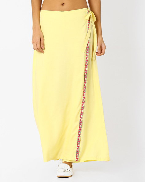 Wrap-Front Palazzos With Tie-Ups By AJIO ( Yellow )
