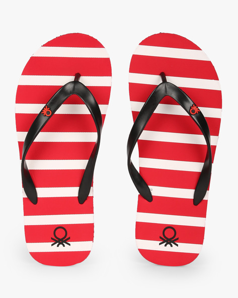 Striped Thong-Style Flip-Flops By UNITED COLORS OF BENETTON ( Red )