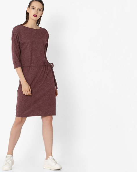 Textured Dress With Drawstring Waist By Project Eve WW Casual ( Purple )